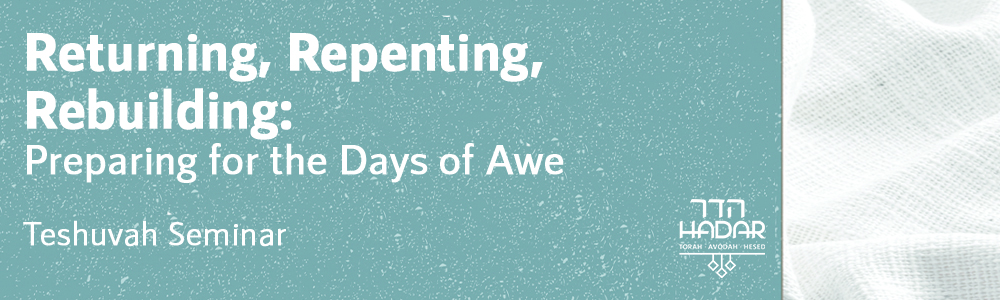 Returning, Repenting, Rebuilding: Preparing for the Days of Awe August 5-7, 2018
